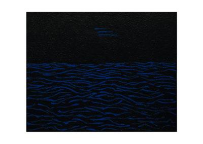 Mar rizada en la noche
