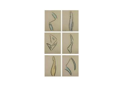 nº 146 Grupo silueteal 1 2008 Pastel sobre papel 221x122 cm