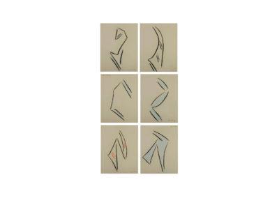 nº 147 Grupo silueteal 2 2008 Pastel sobre papel 221x122 cm