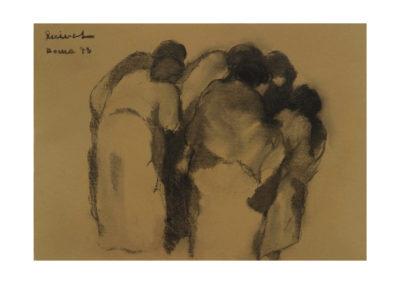Grupo de mujeres 1973 Carbón sobre papel 35x50 cm