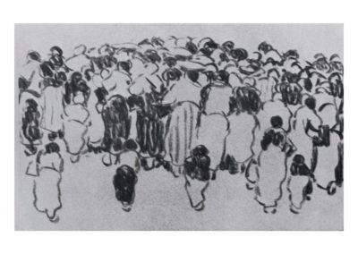 Andando hacia la romería. 1974 Carbón sobre papel 33x50 cm