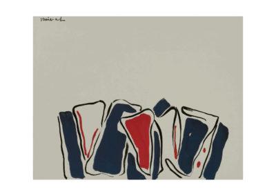 nº 36 Formas objetuales. 1980 Témpera y tinta china sobre papel 50x65 cm.