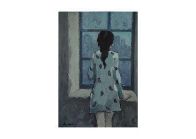 nº 20 Jovencita en la ventana. 1973 Óleo sobre lienzo 100x75 cm.