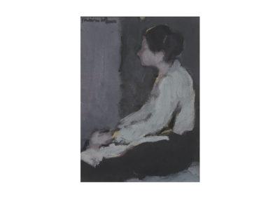 nº 23 Mujer sentada. 1972 Óleo sobre papel prensado 40x30 cm.