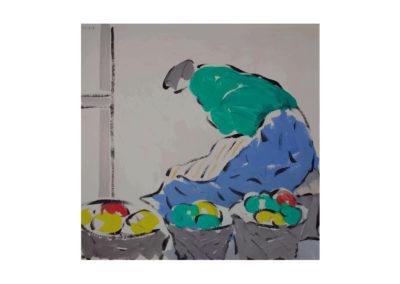 La vendedora de fruta 1987 Acrílico sobre pasta de papel 135x135 cm