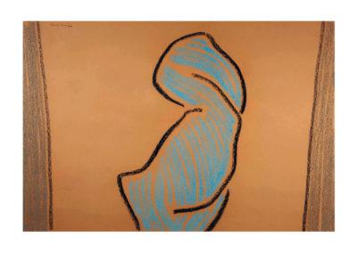 Figura entre bastidores 1998 Carbón y pastel sobre papel 75x110cm>