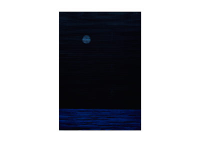 Noche de luna llena sobre el mar 2017 Acrílico sobre cartón rugoso 210x149 cm