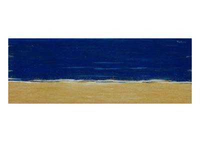 El azul mar en agosto 2017 Acrílico sobre cartón rugoso 55x152 cm