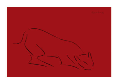 El acecho del puma 2008 Carbon sobre papel 75x110cm