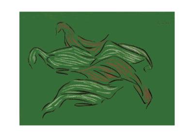 Aves domesticas en el prado 2006 Carbon y pastel sobre papel 75x110 cm Col Particular