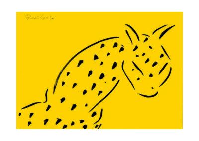 El leopardo espectante 2007 Tinta china sobre papel 30x42cm