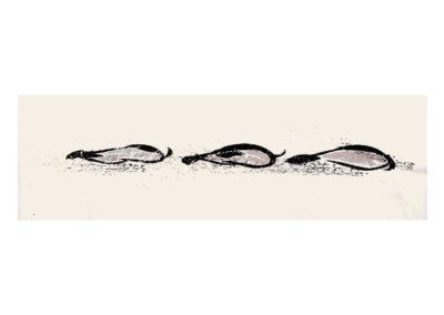 Las tres nutrias 2009 Tinta china y tempera sobre papel 81x265cmq